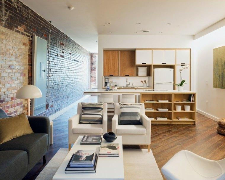 piso apartamento loft pared ladrillo