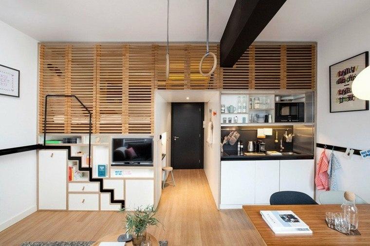 piso tipo loft persianas madera