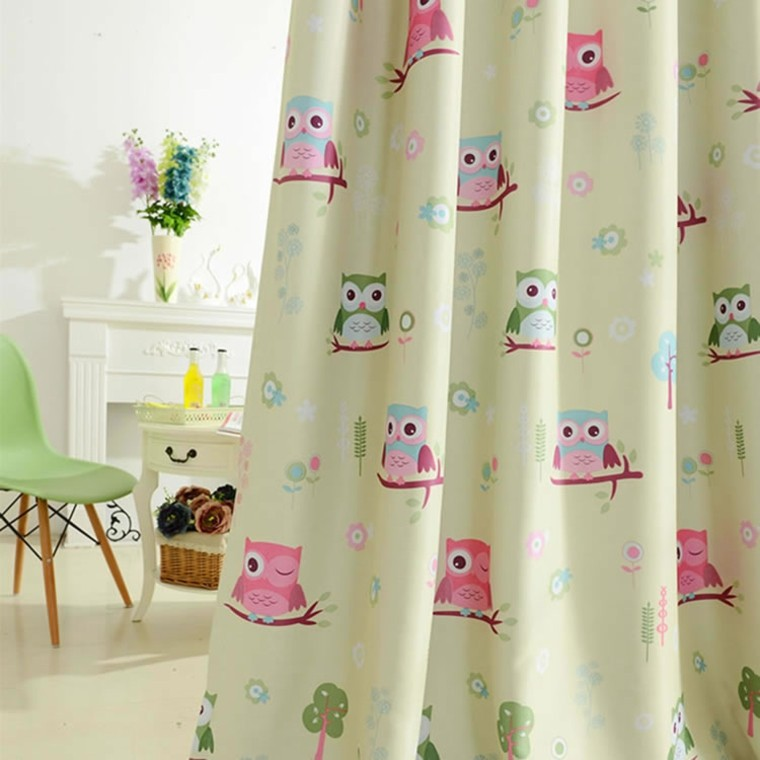 preciosas cortinas diseño moderno buhos