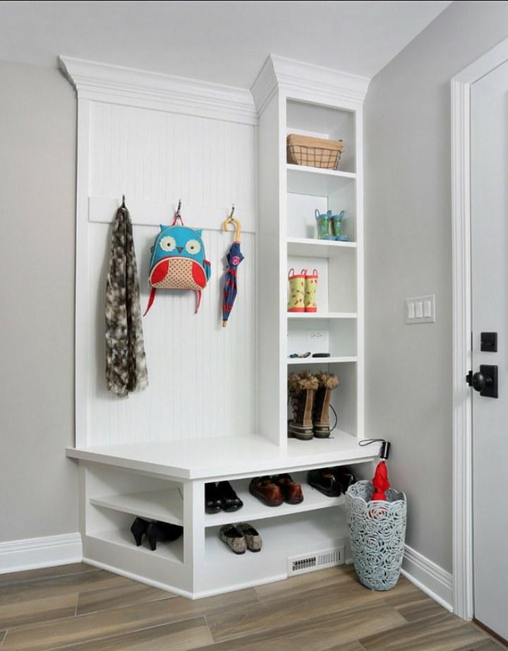 recibidores armarios mueble abierto blanco canastas