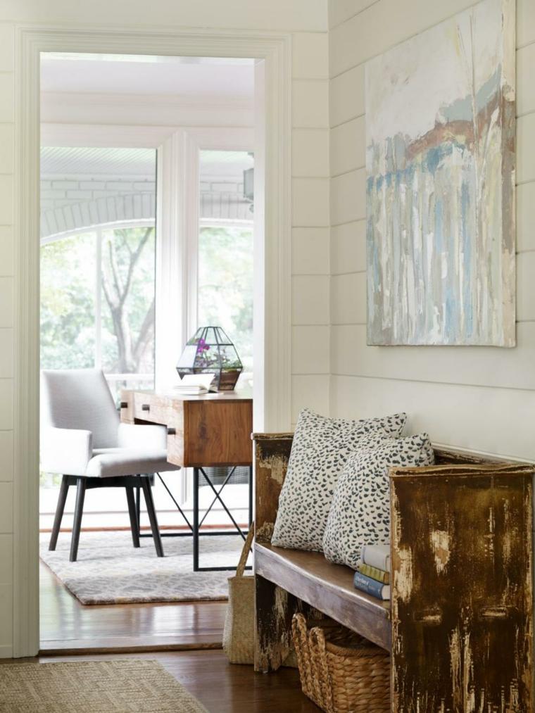 rustico banco madera blanca fibrs