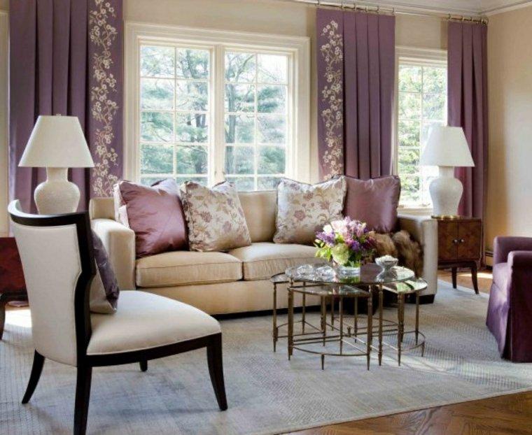 sala de estar decoración morada