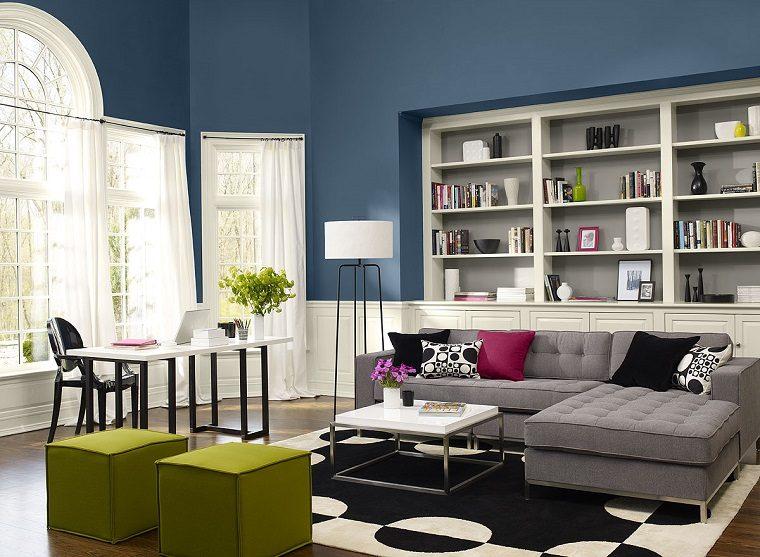 salon cortinas blancas diseno original moderno ideas