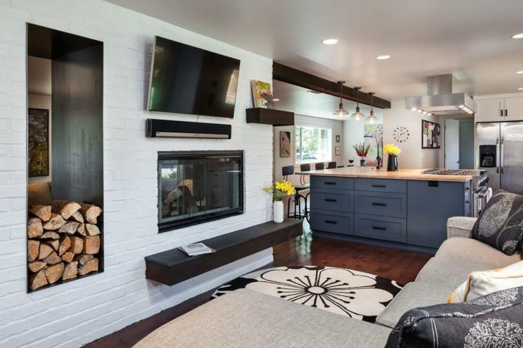salon decoracion almacenamiento paredes muebles