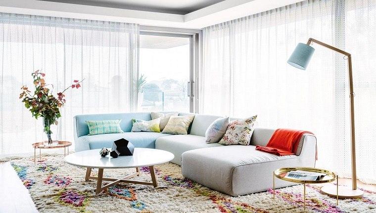 cortinas de salón diseno colores pastel cortinas blancas ideas
