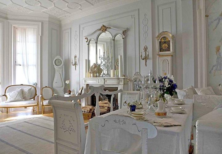 salon lujoso retro color blanco