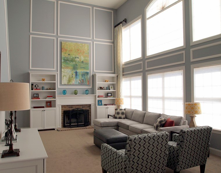 salon pequeno techo alto opciones diseno moderno ideas