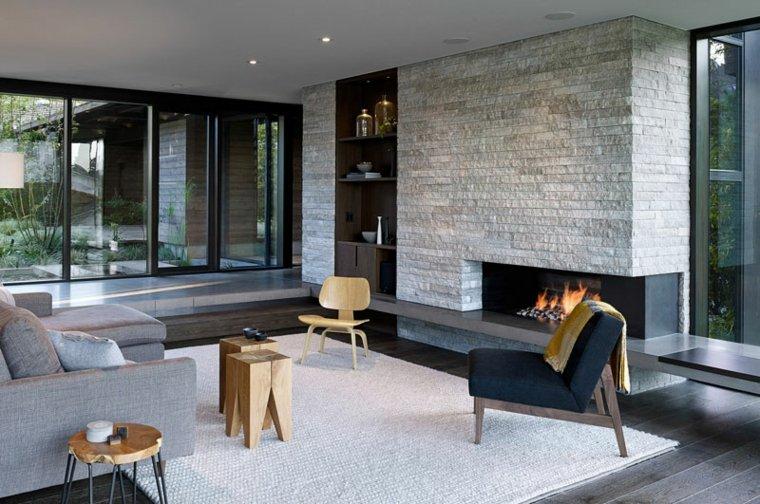 salones confort chimeneas piedras ideas
