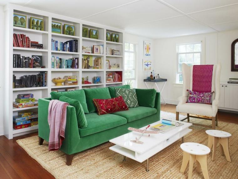 sala estar sofá verde