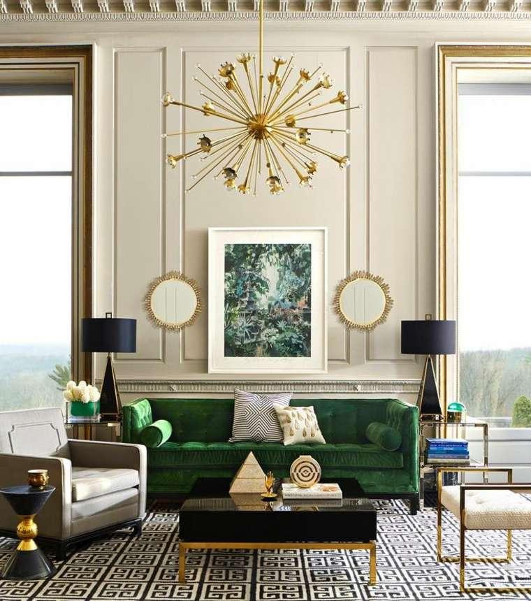 sofa color verde sala estar