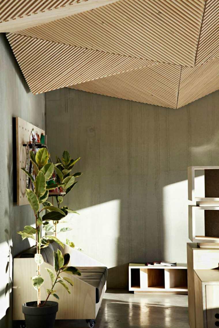 techo geometrico muebles color natural