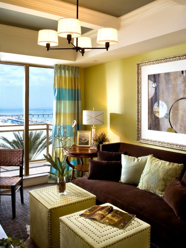 telas para cortinas de salon amarillo paredes cuadros