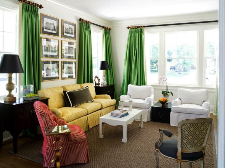 telas para cortinas de salon especiales verdes