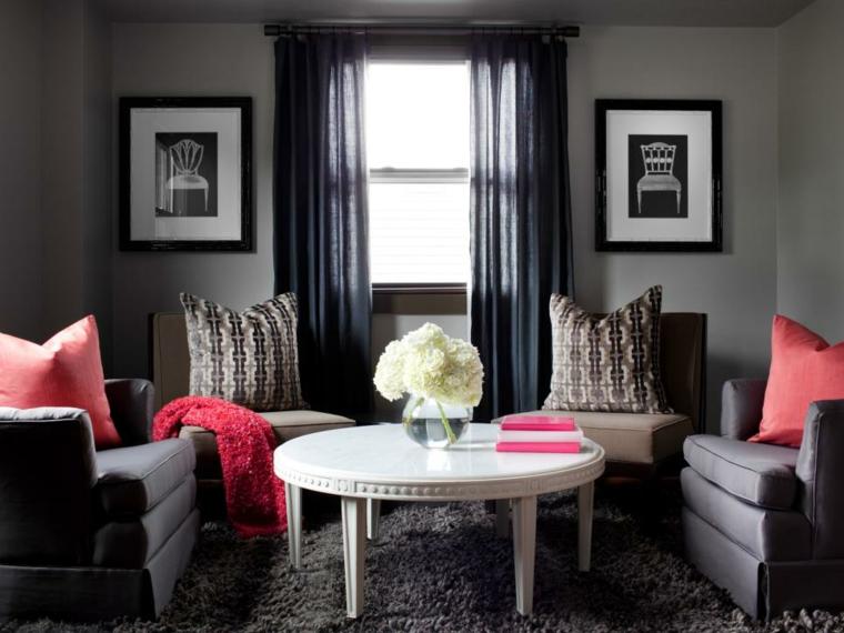 telas para cortinas de salon grises oscuras rojo