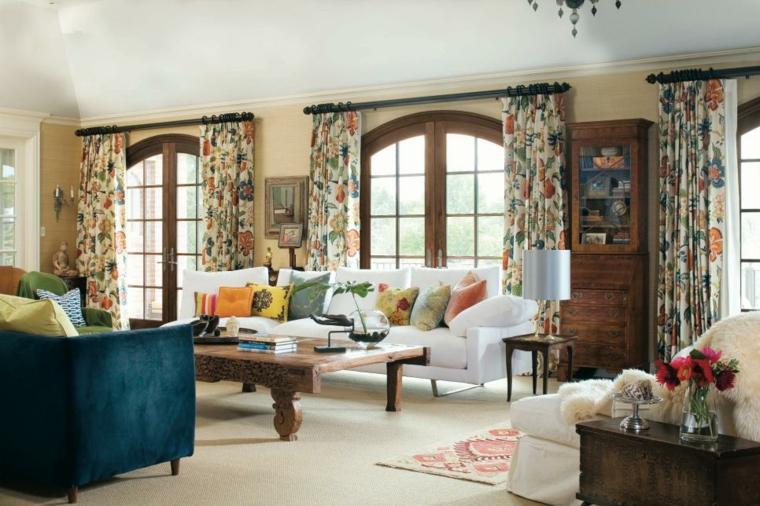 telas para cortinas de salon patrones florales colores