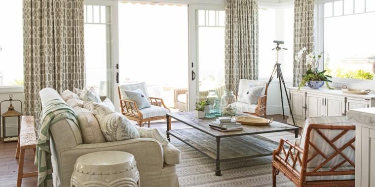telas para cortinas de salon relajado costero plantas
