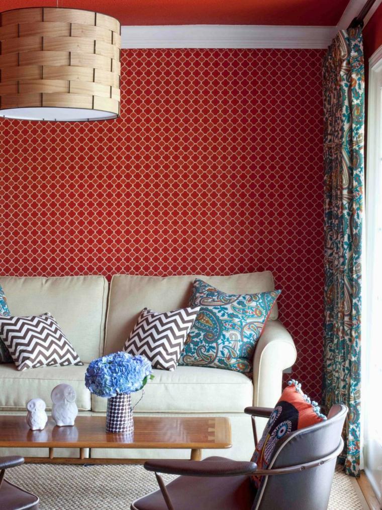 telas para cortinas de salon rojo cojines