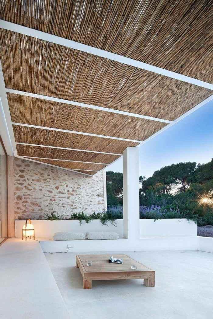 terrazas diseo minimalista blanco acento bambu - Diseo Minimalista