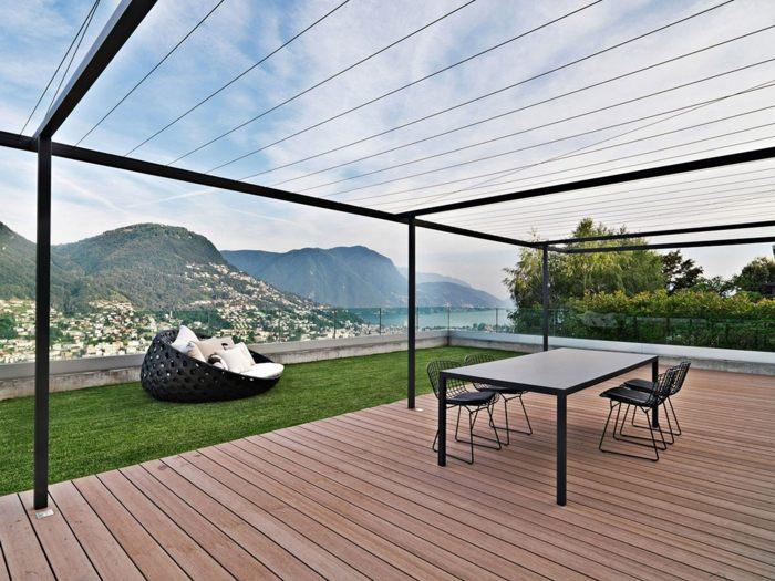 terraza diseño minimalista muebles negros sala