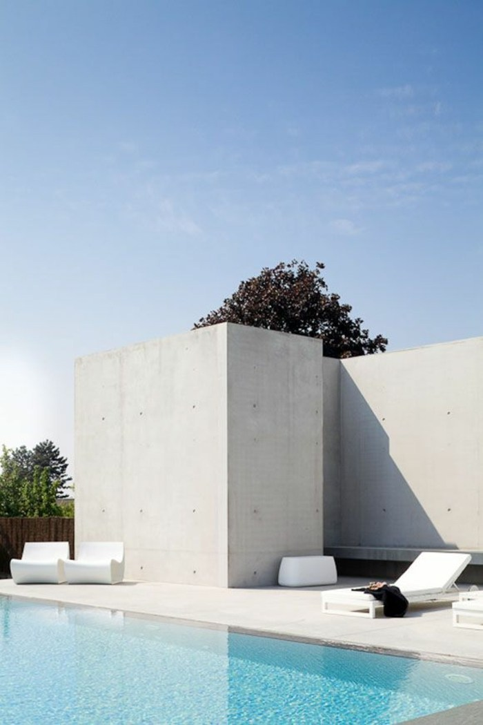 terraza diseño minimalista piscina patio intimo