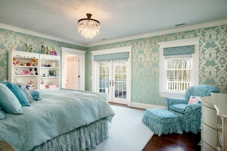 vintage papel plateado azul paredes alargados