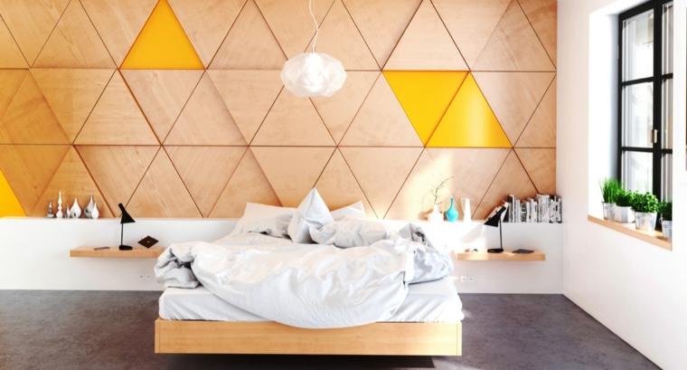 pared cabecero paneles madera
