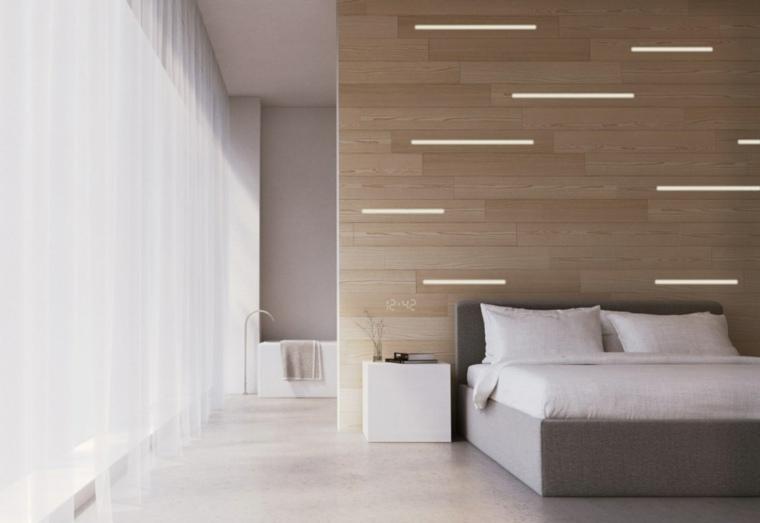 dormitorio pared madera