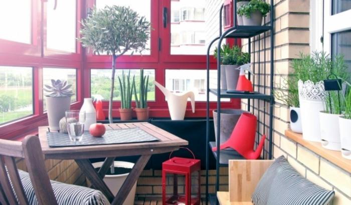 acentos rojos muebles materiales plantas