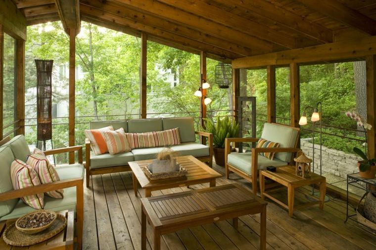 acogedora terraza techadas muebles estables