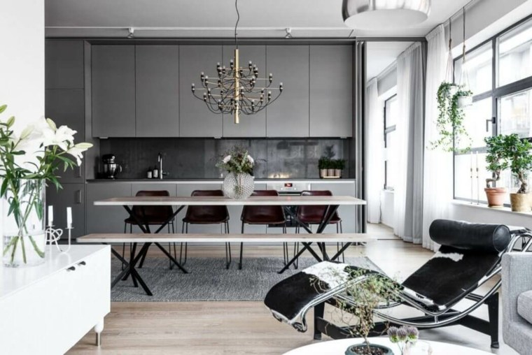 apartamento moderno HusmanHagberg cocina gris ideas