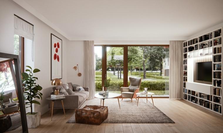 apartamento salon moderno pared libros Sam Habbaba ideas
