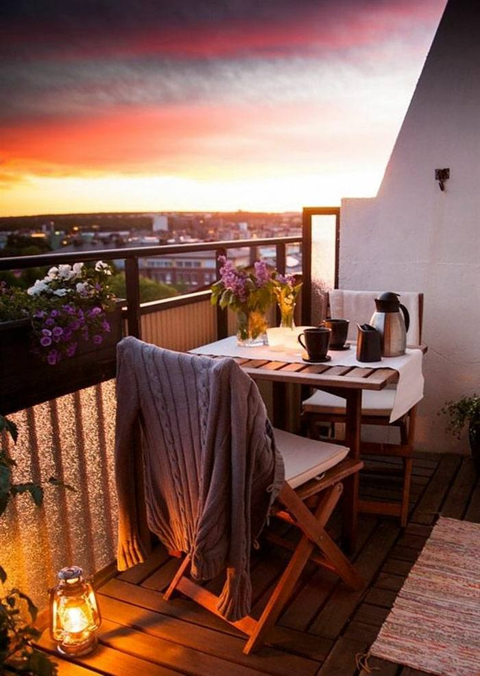 atardecer bello exclusivo ambiente flores balcones