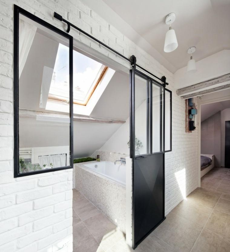 aticos diseños deslizantes paredes negro acero