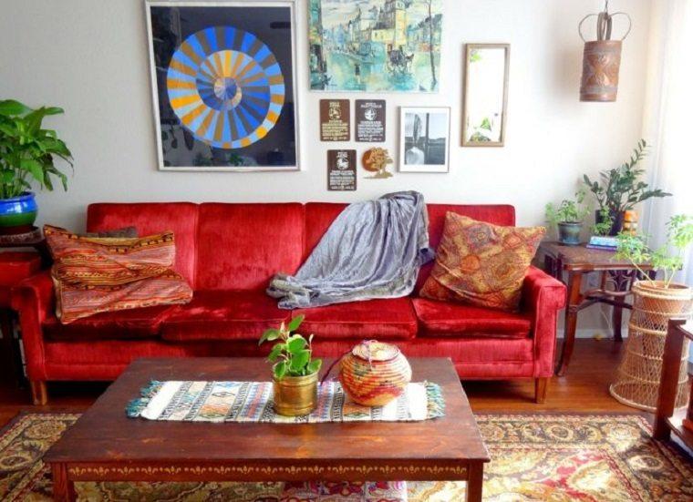 atractivo salon especial fresco plantyas rojo
