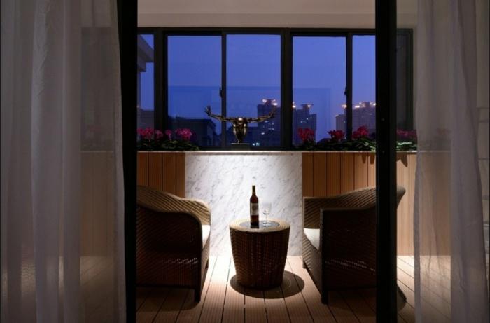 balcon diseño cortinas calidos luces
