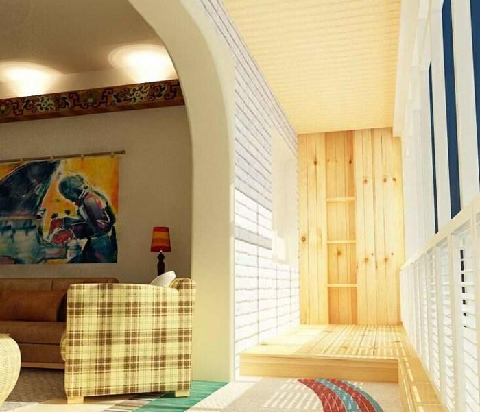 balcon diseño cuadros sillones estantes parciales