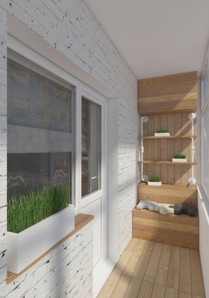 balcon diseño ladrillo blanco descubierto muebles