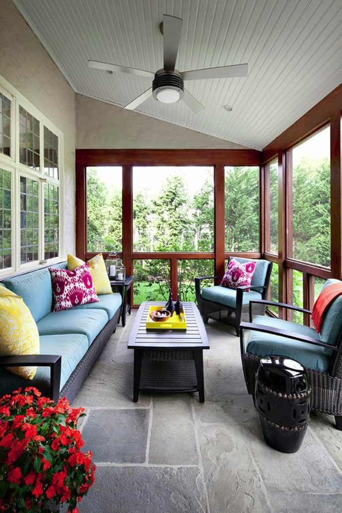 balcon diseño piedra suelos color flores