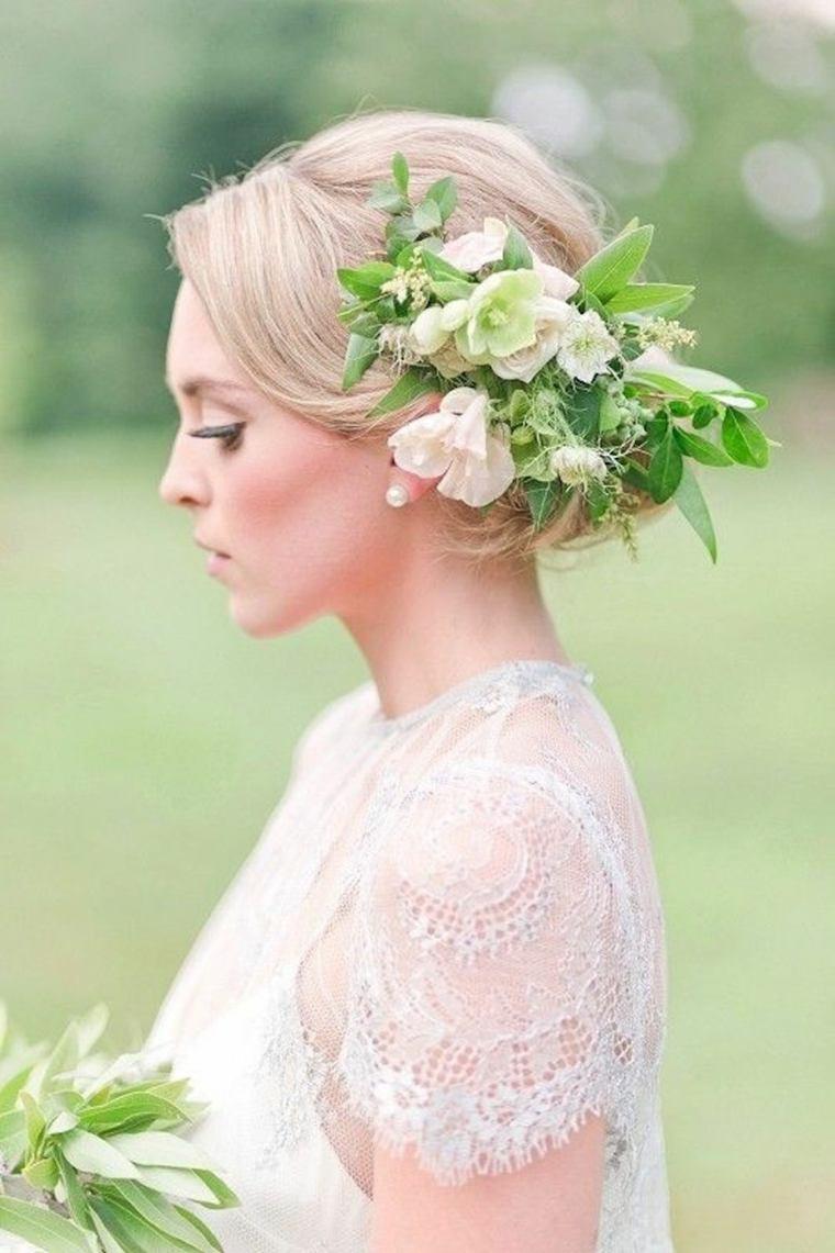 boda peinado hojas flores blancas opciones ideas