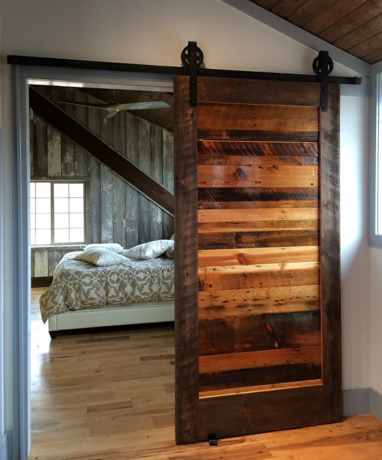 bonita puerta corredera listones madera