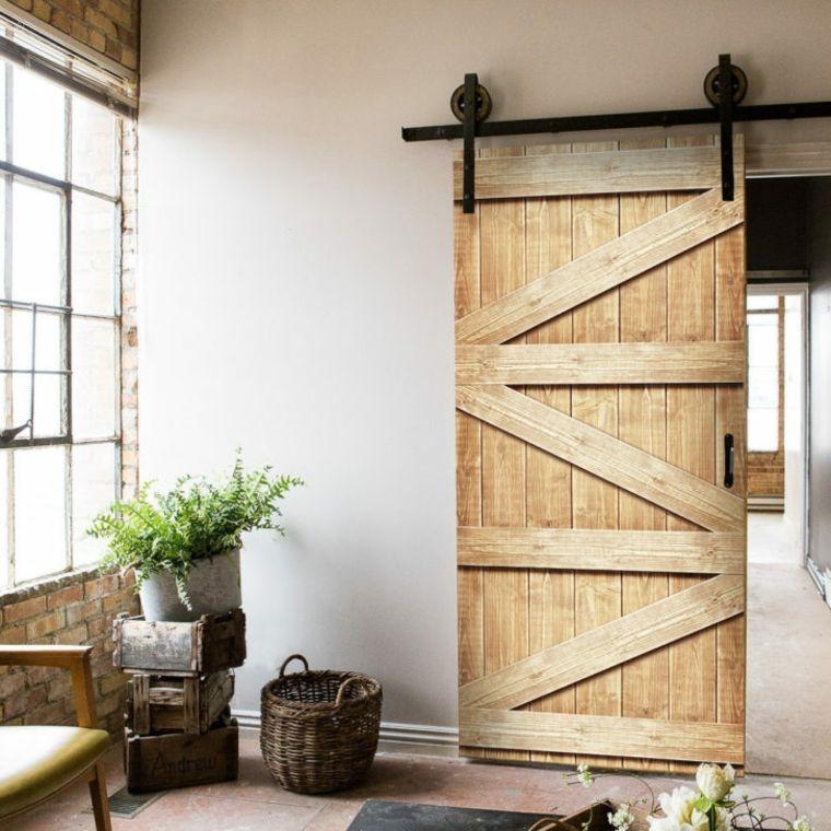 Puertas correderas de madera de estilo granero 42 ideas - Puertas correderas interior rusticas ...