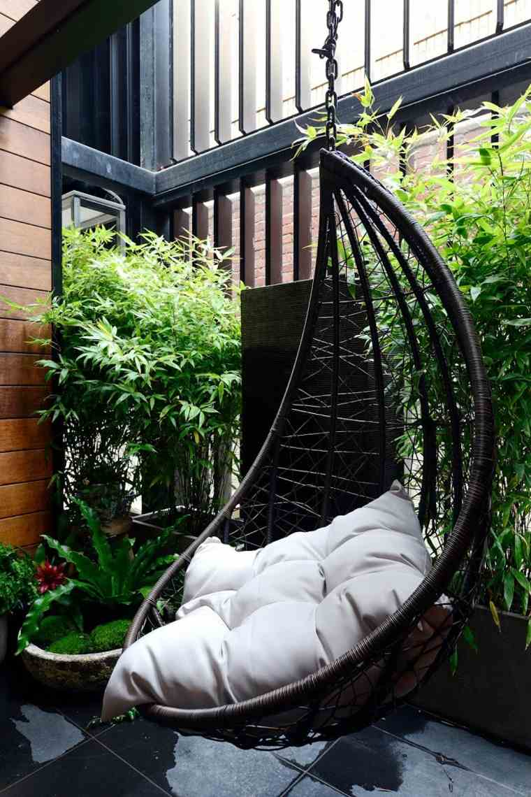 Balancines y hamacas para terrazas 34 ideas impresionantes - Sillon colgante jardin ...