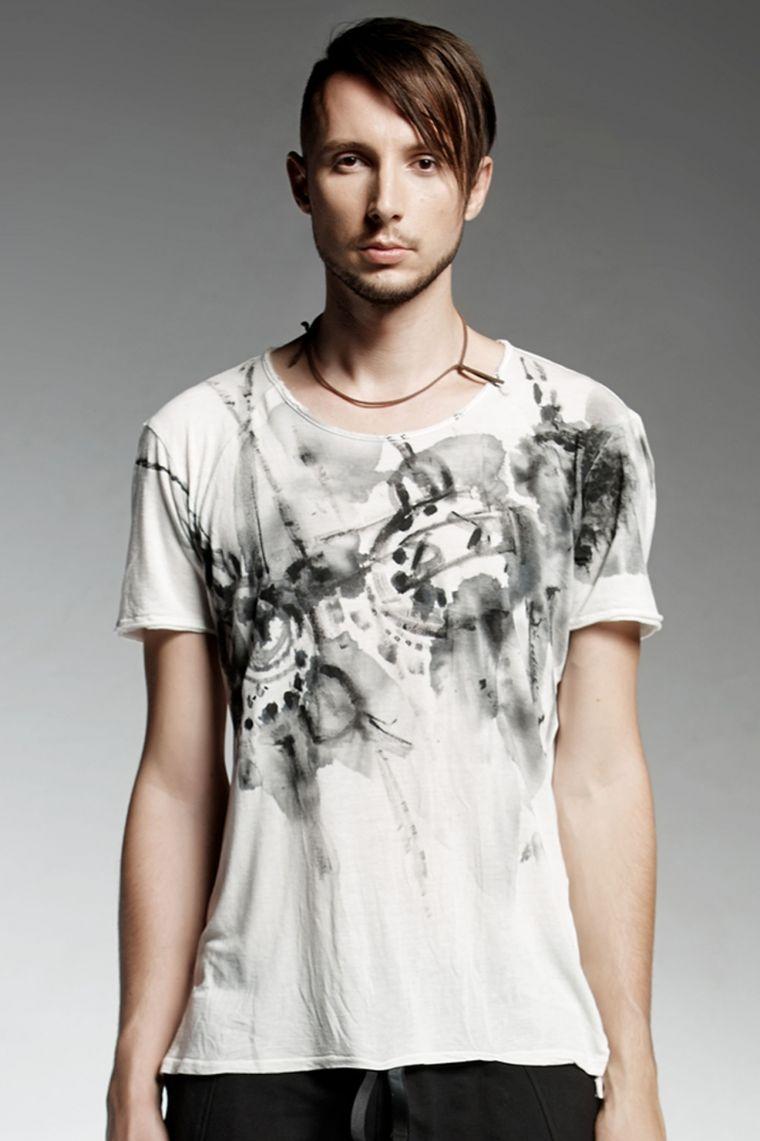 camiseta manga corta hombre blanco negro vesomi ideas