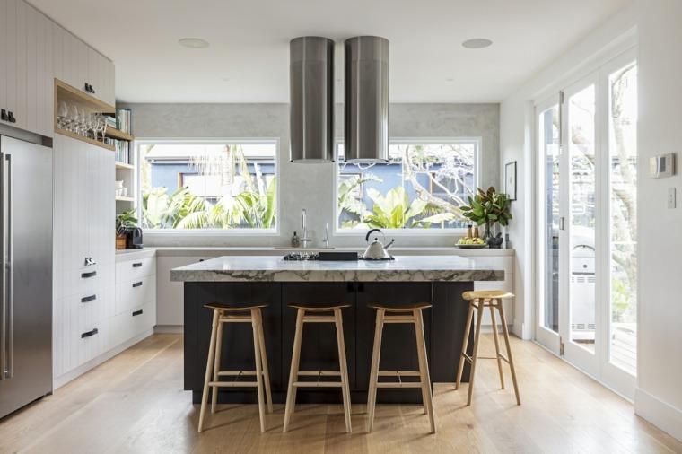 casa moderna cocina separada campana acero ideas