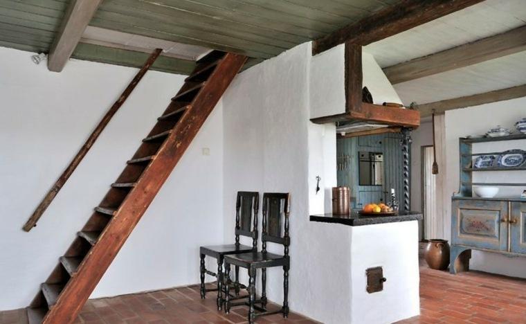 Escaleras r sticas de piedra y madera 34 dise os for Escaleras de madera sencillas
