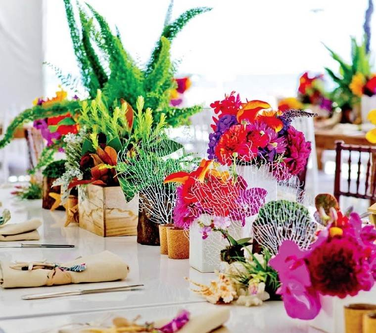 centro flores brillante diseno moderno ideas