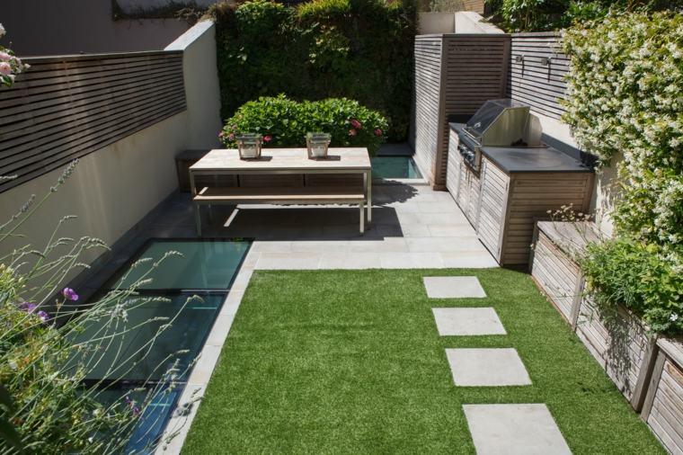 cocina aire libre cesped jardin pequeno ideas