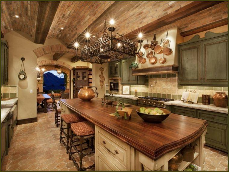 cocina amplia diseño rustico