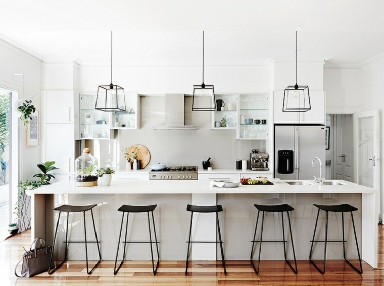 cocina amplia isla grande diseno blanco moderno ideas