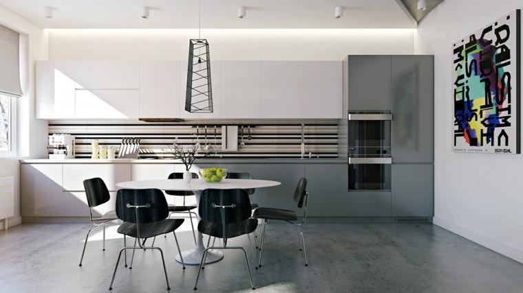 Cocinas comedor modernas cocina amplia blanca isla for Muebles cocina comedor modernos